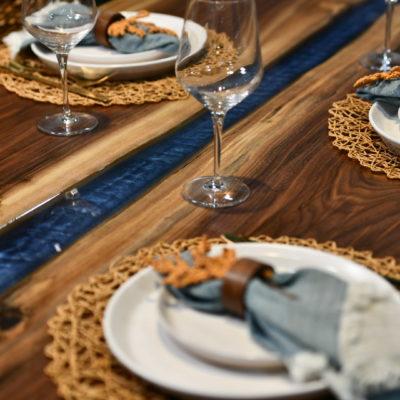 Black walnut table with midnight blue epoxy